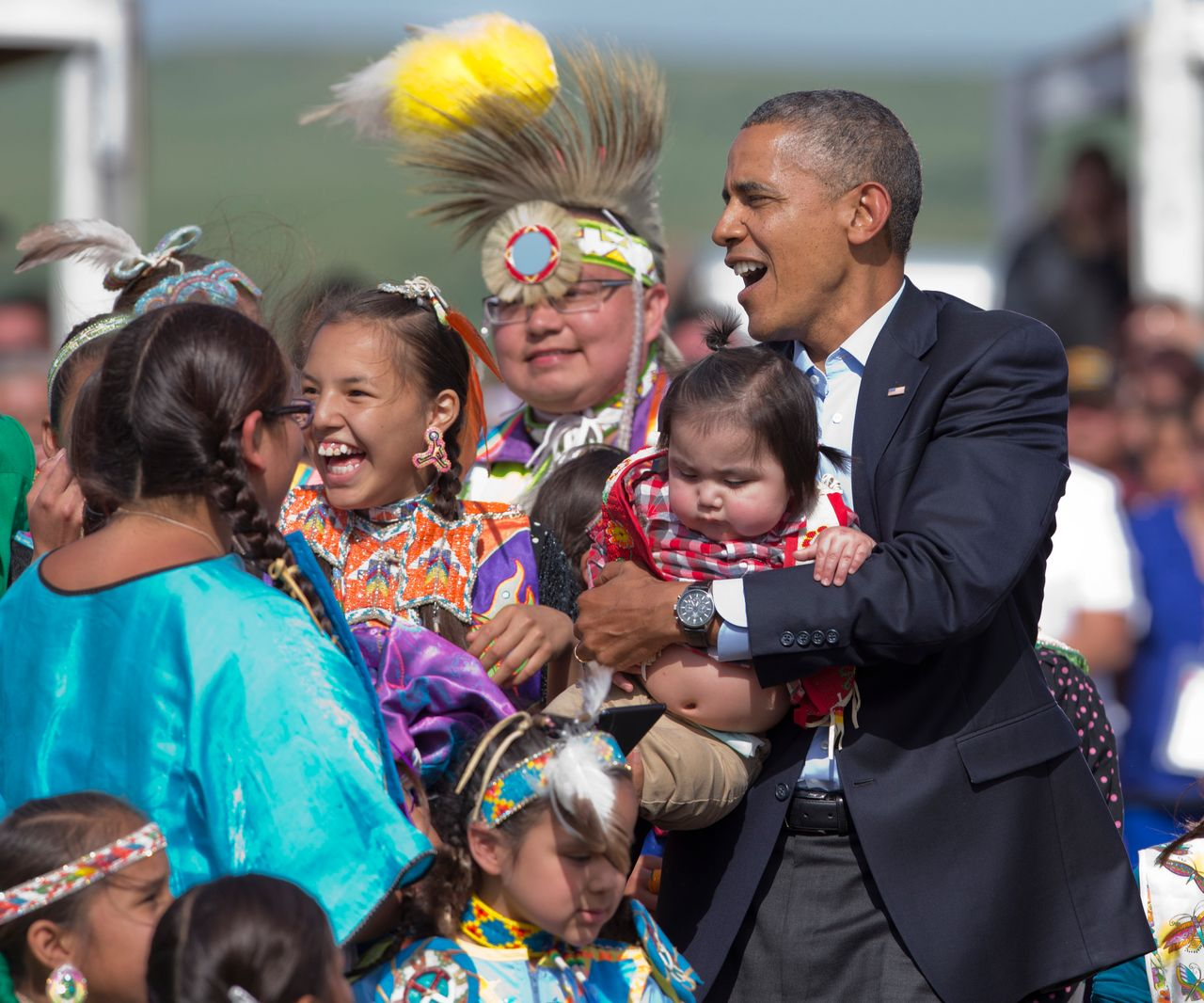 President Obama joins members of the Standing Rock Sioux Tribal Nation for a celebration in June, 2014.