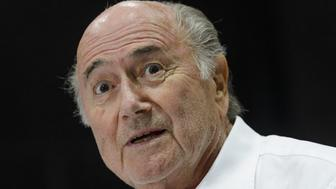 Outgoing FIFA president Sepp Blatter answers to a press conference during the 'Sepp Blatter Tournament' on August 22, 2015 in Ulrichen, Blatter's hometown. When Blatter was elected FIFA President in 1998, the town awarded him with the 'honorary burgher' of Ulrichen title and to commemorate the occasion, a football tournament bearing his name was created.  AFP PHOTO / FABRICE COFFRINI        (Photo credit should read FABRICE COFFRINI/AFP/Getty Images)