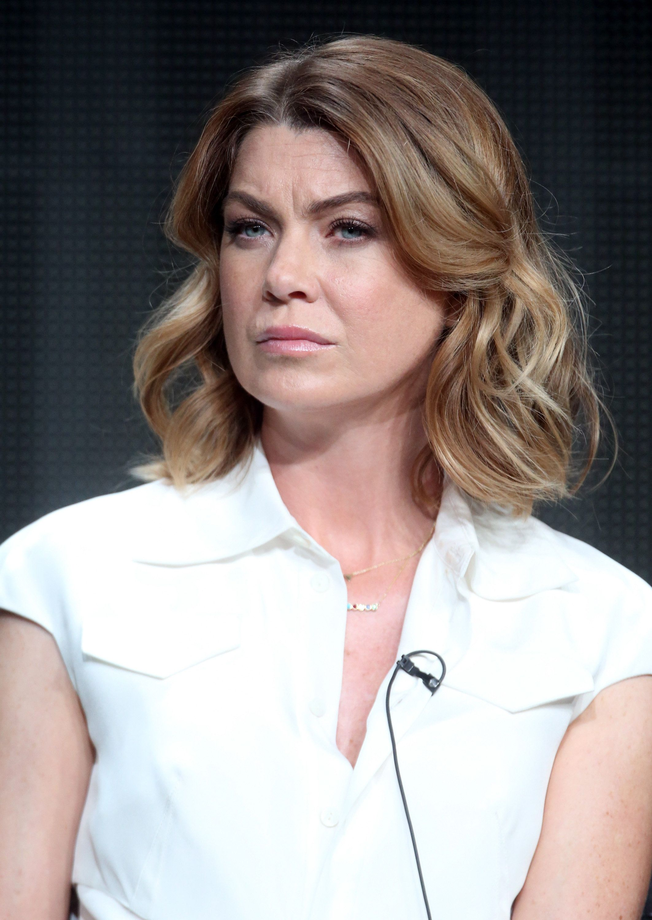 BEVERLY HILLS, CA - AUGUST 04:  Actress Ellen Pompeo speaks onstage during the 'Grey's Anatomy,' 'Scandal,' and 'How To Get Away With Murder' panel discussion at the ABC Entertainment portion of the 2015 Summer TCA Tour at The Beverly Hilton Hotel on August 4, 2015 in Beverly Hills, California.  (Photo by Frederick M. Brown/Getty Images)