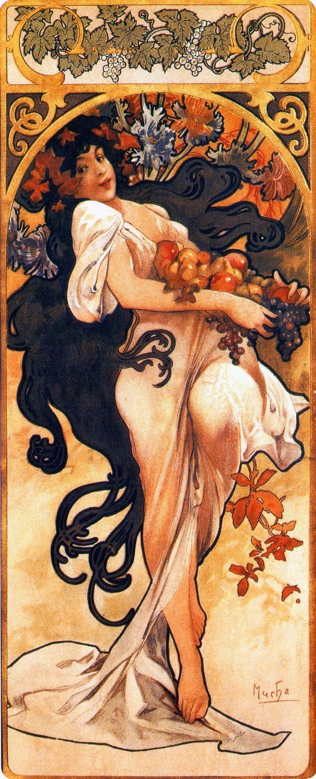 "<a href=""https://commons.wikimedia.org/wiki/File:Mucha_seasons_1897_autumn.jpg"">Alphonse Mucha, ""Four Seasons,""&nbsp;Autumn,"