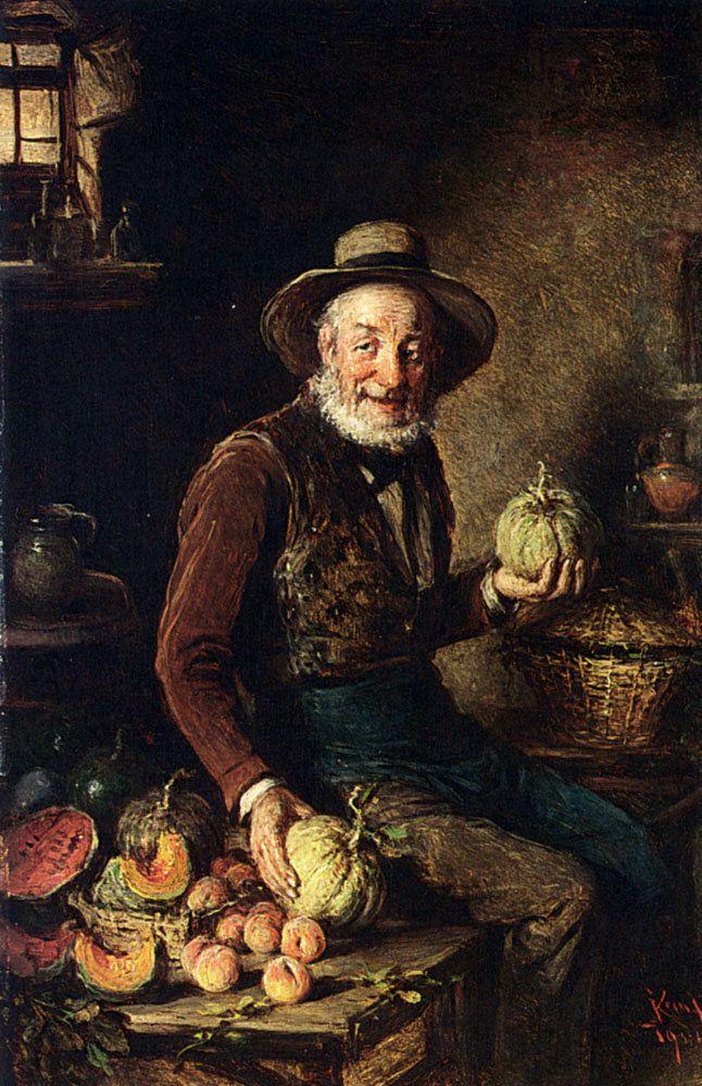 "<a href=""https://commons.wikimedia.org/wiki/File:Kern_The_Pumpkin_Seller_1904.jpg"">Hermann Kern, ""The Pumpkin Seller,"" 1904</"