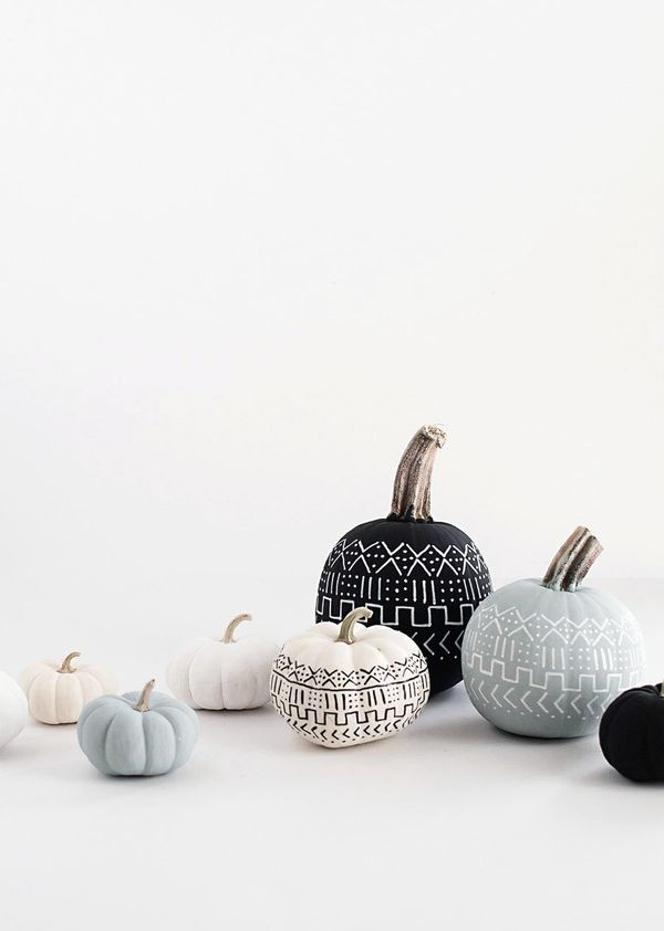 "Decorate your pumpkin patch loot. <a href=""http://www.homeyohmy.com/diy-mud-cloth-pumpkins/"" target=""_blank"">Try this Mud Clo"