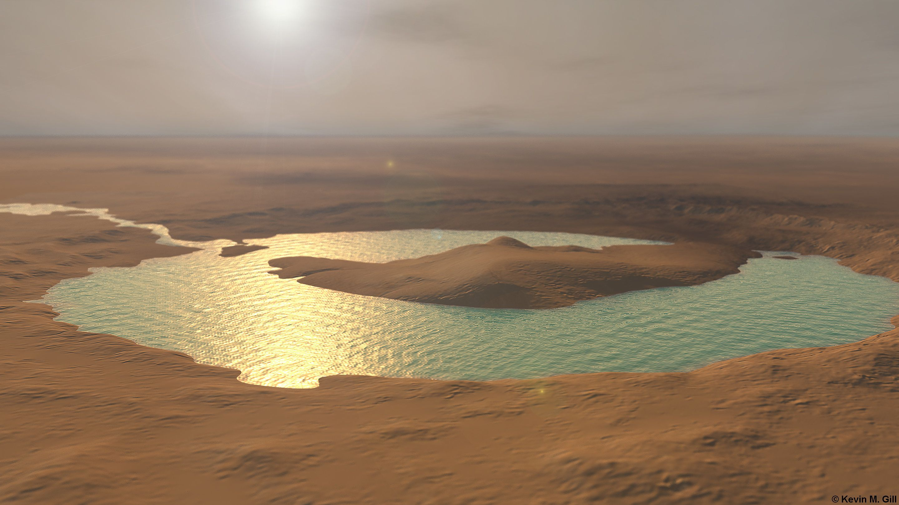 "Inspired by recent news that using the instruments on the Curiosity rover, NASA has been able to determine that Gale Crater used to contain a lake of liquid water.   <a href=""http://www.nasa.gov/press/2014/december/nasa-s-curiosity-rover-finds-clues-to-how-water-helped-shape-martian-landscape/#.VIiHIzHF98H"" rel=""nofollow"">www.nasa.gov/press/2014/december/nasa-s-curiosity-rover-f...</a> <a href=""http://www.universetoday.com/117139/curiosity-rover-data-indicates-gale-crater-mountain-used-to-be-a-lake/"" rel=""nofollow"">www.universetoday.com/117139/curiosity-rover-data-indicat...</a>   Crater is modeled using altimetry data derived from the ESA's Mars Express High Resolution Stereo Camera (HRSC). Surface coloring for the foreground crater is a colorized version of the same HRSC imagery. The background terrain is re-colorized (to match) Viking imagery. Created and rendered using Autodesk Maya with postadjustments in Adobe Photoshop."