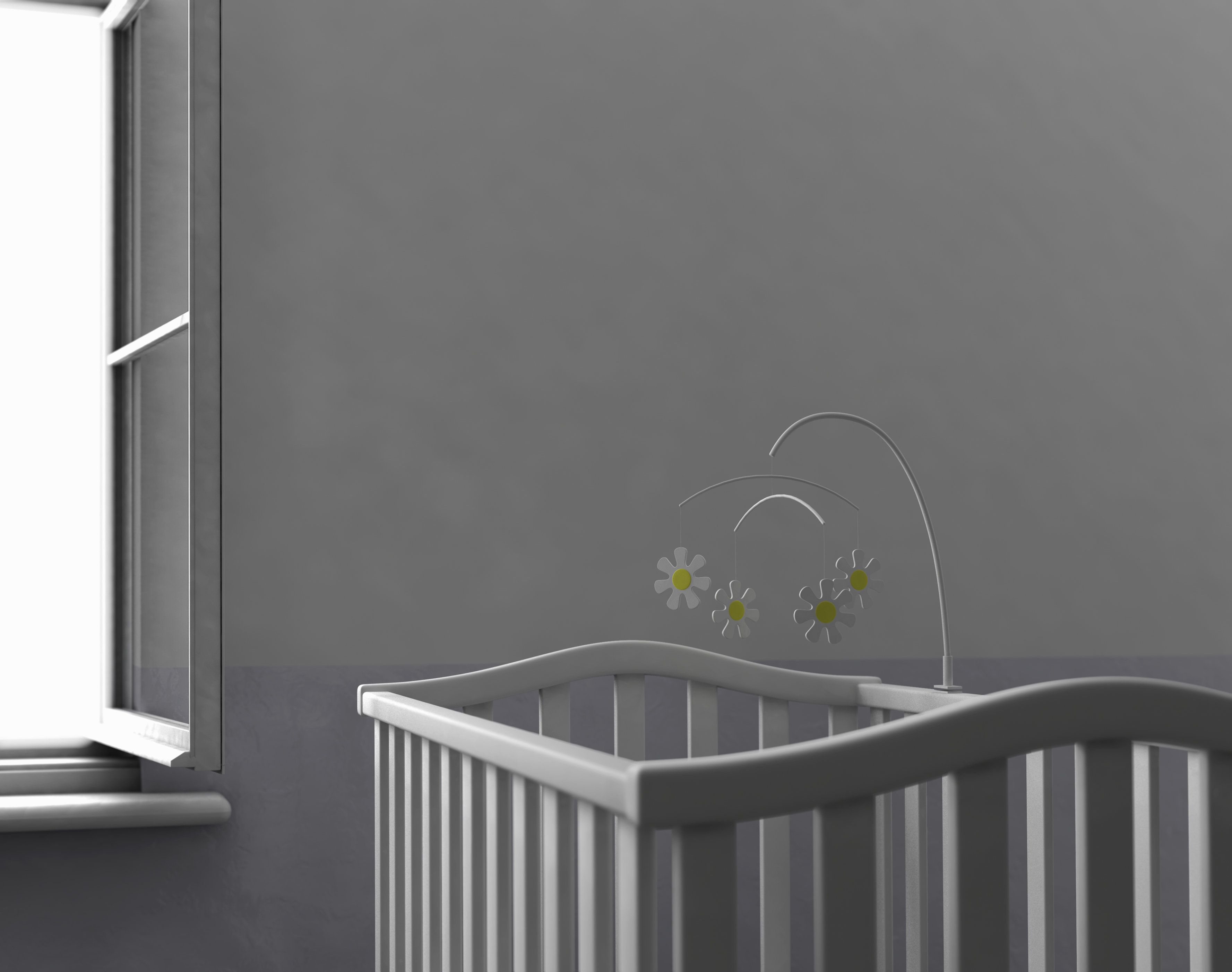 Empty crib by open window (Digitally Generated Image)