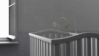 Empty crib by open window (Digitally Generated Image)