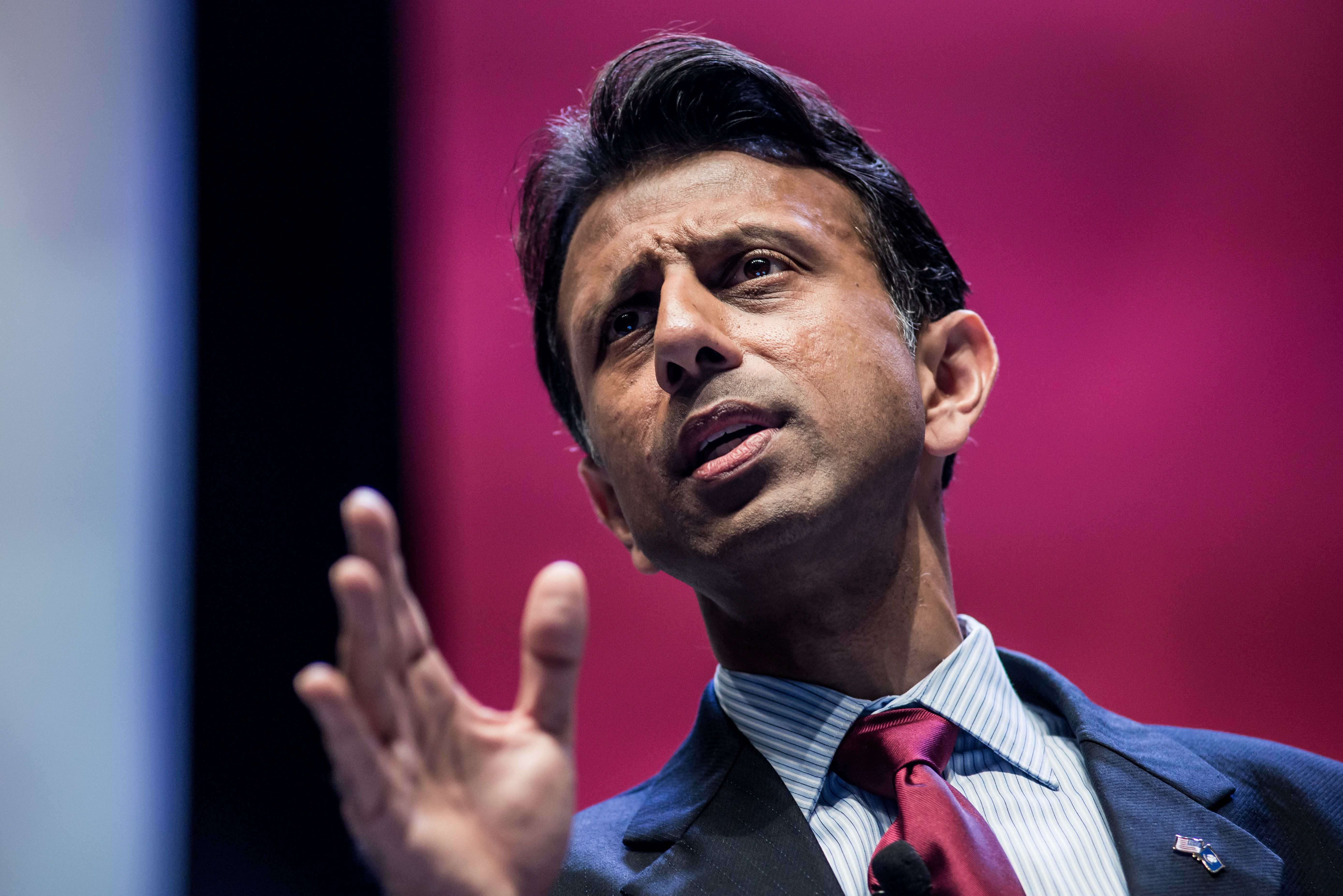 GREENVILLE, SC - SEPTEMBER 18:  Louisiana Governor and presidential candidate Bobby Jindal speaks to voters at the Heritage Action Presidential Candidate Forum September 18, 2015 in Greenville, South Carolina. Ten republican candidates were each given 25 minutes to talk to the crowd at the Bons Secours Wellness Arena in the upstate of South Carolina. (Photo by Sean Rayford/Getty Images)