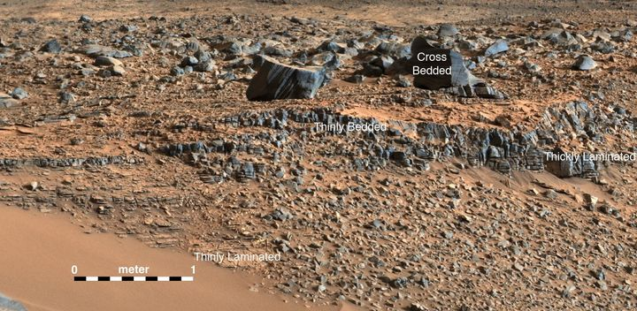 This image from the Curiosity rover shows a lakebed deposit, with river- and stream-related deposits nearby. The strata