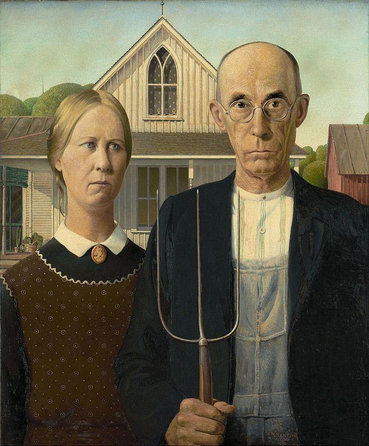 "<a href=""https://en.wikipedia.org/wiki/File:Grant_Wood_-_American_Gothic_-_Google_Art_Project.jpg"">Grant Wood, ""American Goth"