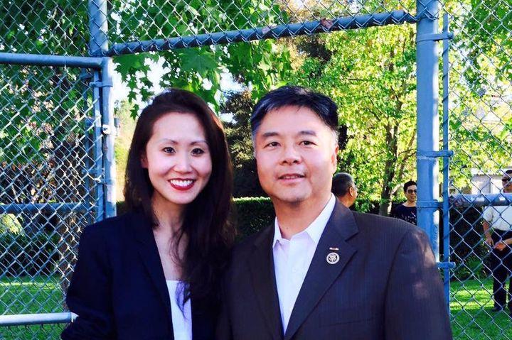 Li with CongressmanTed Lieu at a recent campaign event.
