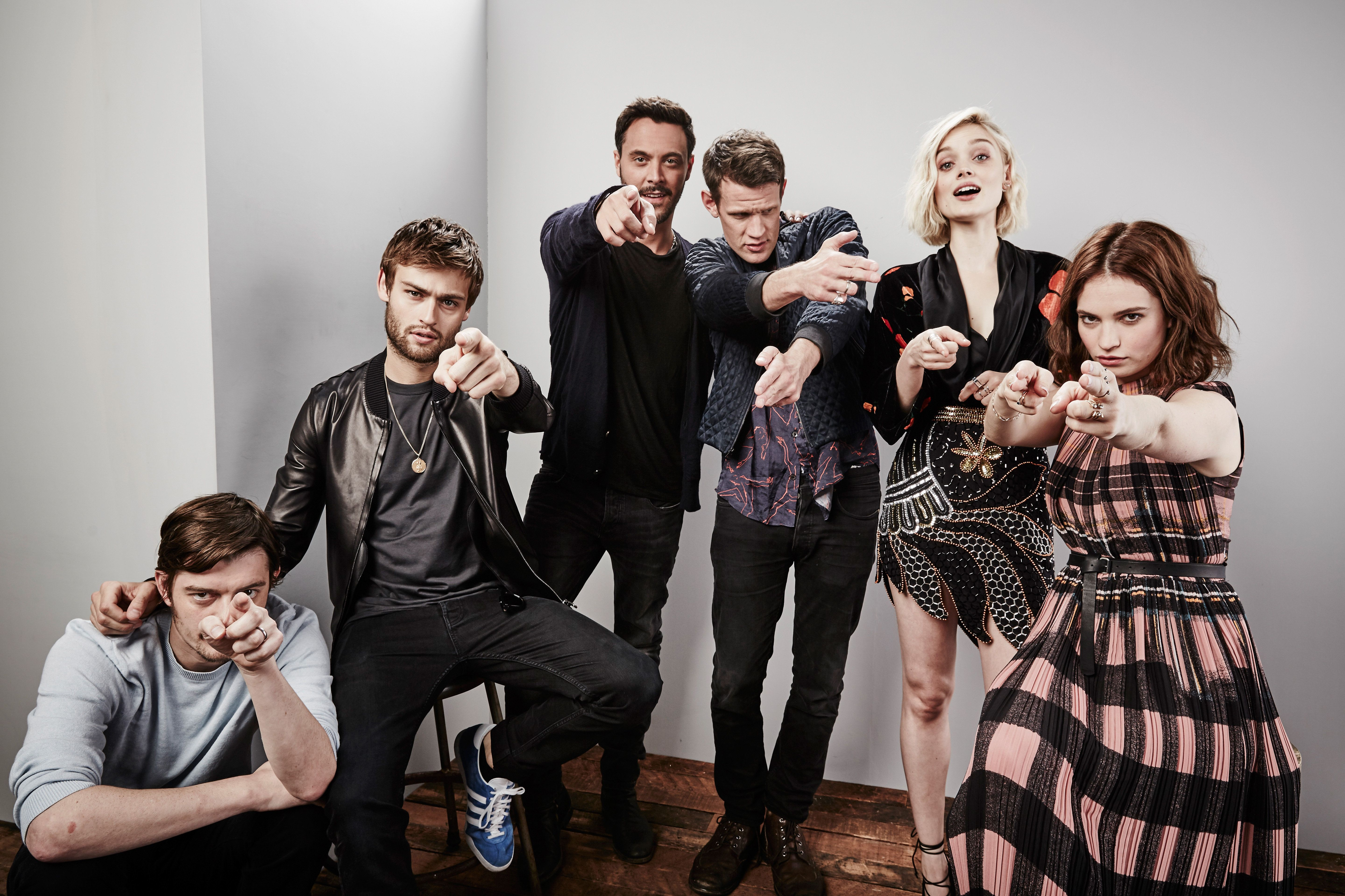 SAN DIEGO, CA - JULY 11:  (L-R) Actors Sam Riley, Douglas Booth, Jack Huston, Matt Smith, Bella Heathcote, and Lily James of 'Pride and Prejudice and Zombies' pose for a portrait at the Getty Images Portrait Studio Powered By Samsung Galaxy At Comic-Con International 2015 at Hard Rock Hotel San Diego on July 11, 2015 in San Diego, California.  (Photo by Maarten de Boer/Getty Images)