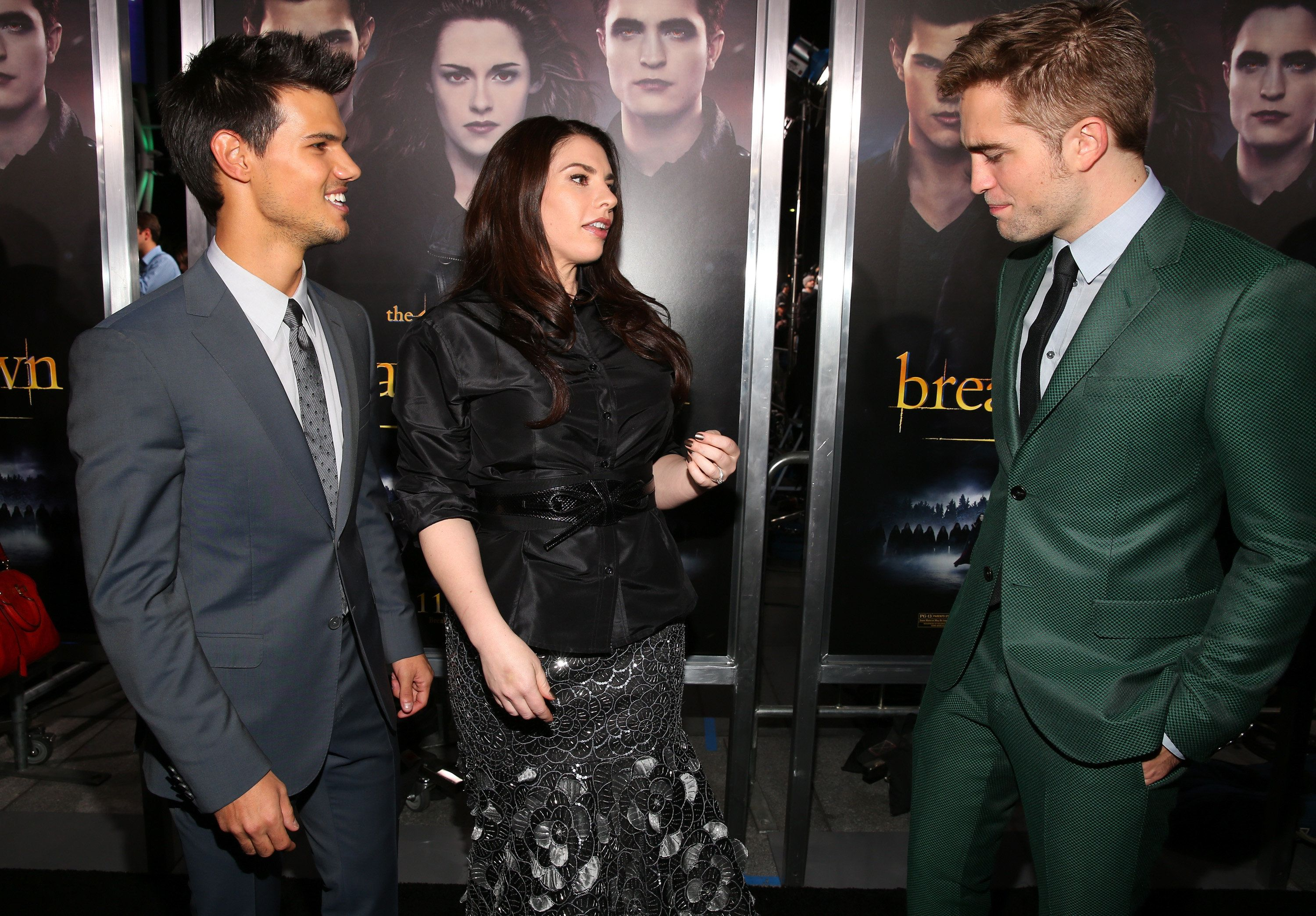 LOS ANGELES, CA - NOVEMBER 12:  (L-R) Actors Taylor Lautner, Kristen Stewart, author Stephenie Meyer, and actor Robert Pattinson arrive at the premiere of Summit Entertainment's 'The Twilight Saga: Breaking Dawn - Part 2' at Nokia Theatre L.A. Live on November 12, 2012 in Los Angeles, California.  (Photo by Christopher Polk/Getty Images)