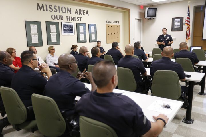 LAPD officers at a training session to learn how their department will use body cameras on Aug. 31, 2015.