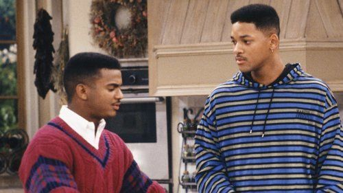 """THE FRESH PRINCE OF BEL-AIR -- """"The Butler Did It"""" Episode 11 -- Pictured: (l-r) Alfonso Ribeiro as Carlton Banks, Will Smith as William 'Will' Smith, Karyn Parsons as Hilary Banks -- Photo by: Ron Tom/NBCU Photo Bank"""