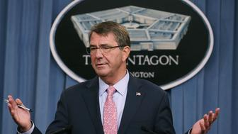 ARLINGTON, VA - SEPTEMBER 30:  US Secretary of Defense Ashton Carter speaks during a news conference at the Pentagon September 30, 2015 in Arlington, Virginia. Carter talked about the situation in the Middle East including recent Russian airstrikes in Syria.  (Photo by Mark Wilson/Getty Images)
