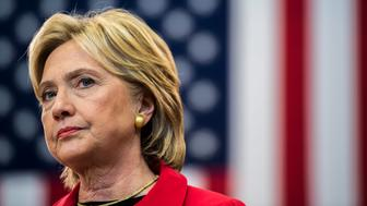 MANCHESTER, NEW HAMPSHIRE - OCTOBER 5:  Former Secretary of State Hillary Clinton speaks about gun violence and stricter gun during a townhall meeting at Manchester Community College Monday  October 5, 2015. (Photo by Melina Mara/The Washington Post via Getty Images)