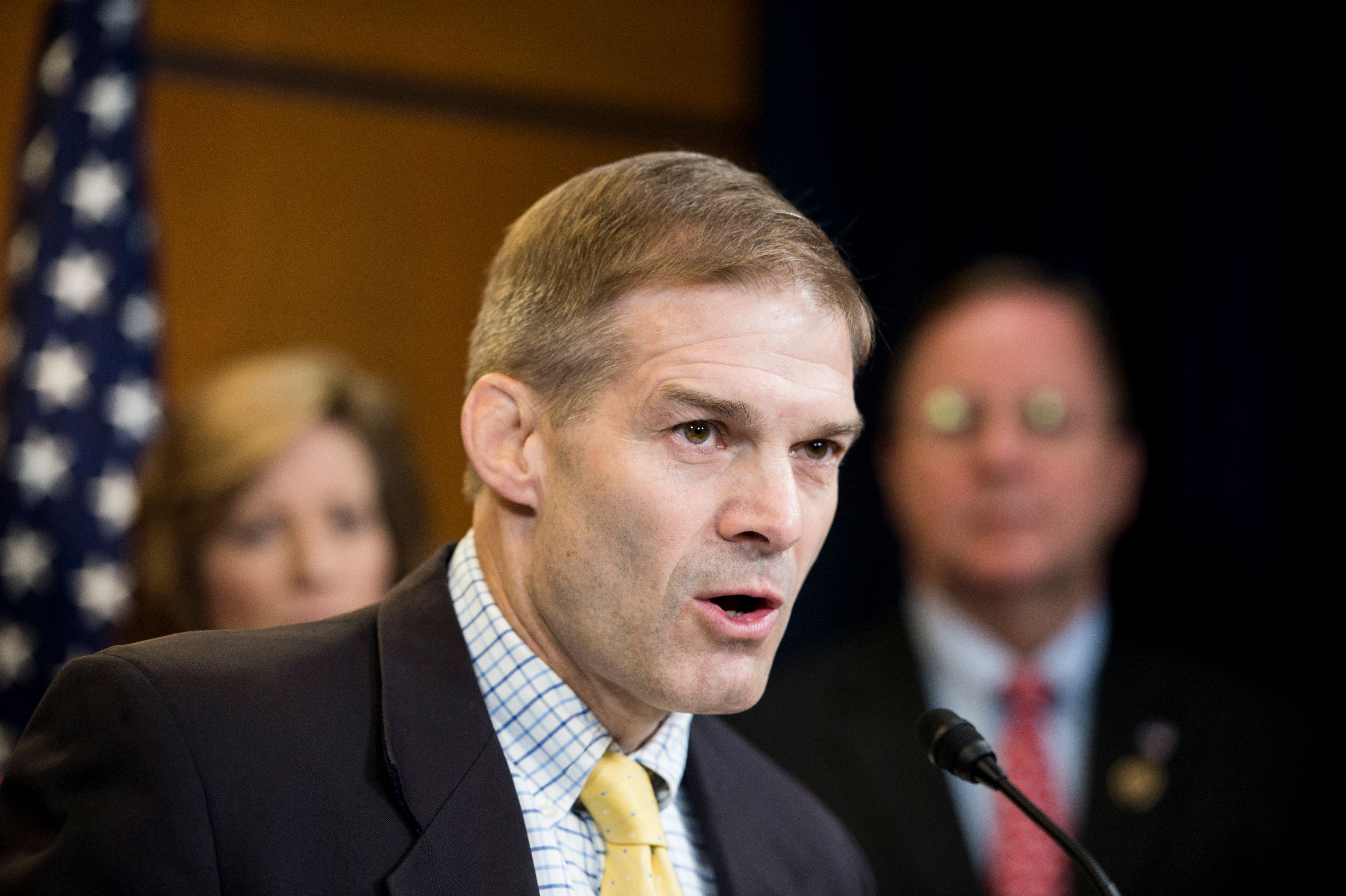 UNITED STATES - JULY 16: Rep. Jim Jordan, R-Ohio, speaks during the Republican Study Committee news conference to 'call on the House and Senate to support the First Amendment Defense Act' on Thursday, July 16, 2015. (Photo By Bill Clark/CQ Roll Call)