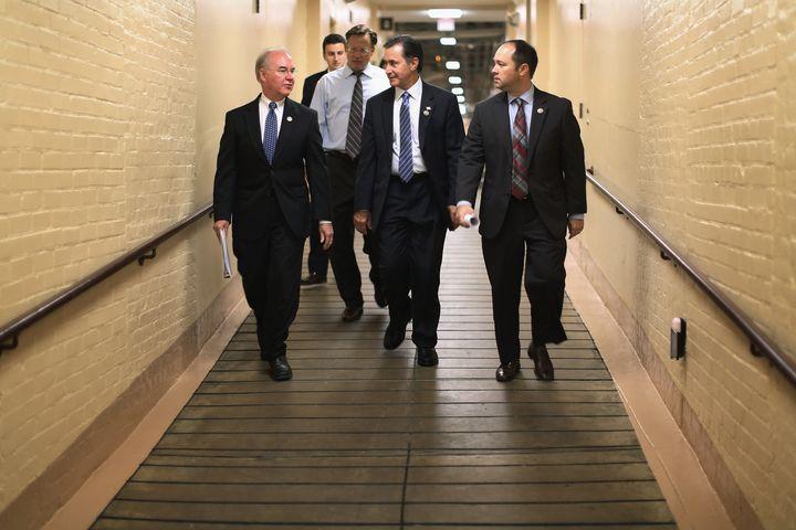 WASHINGTON, DC - OCTOBER 09: Rep. Tom Price (R-GA) (L) and members of the Freedom Caucus (3rd L-R) Rep. Dave Brat (R-VA), Rep