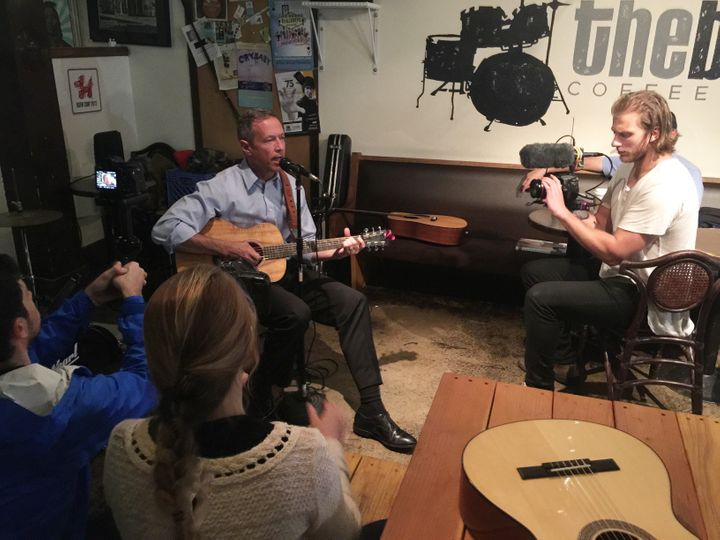 Martin O'Malley performs at The Beat Coffeehouse and Records in Las Vegas as the Huffington Post cameras roll.