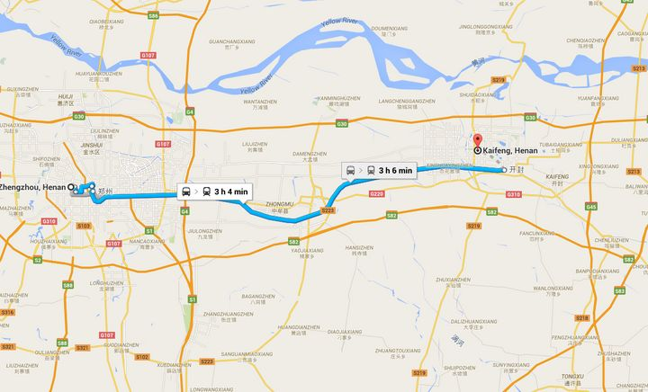 Here's the route Google Maps says buses travel between the Chinese cities of Zhengzhou and Kaifeng.