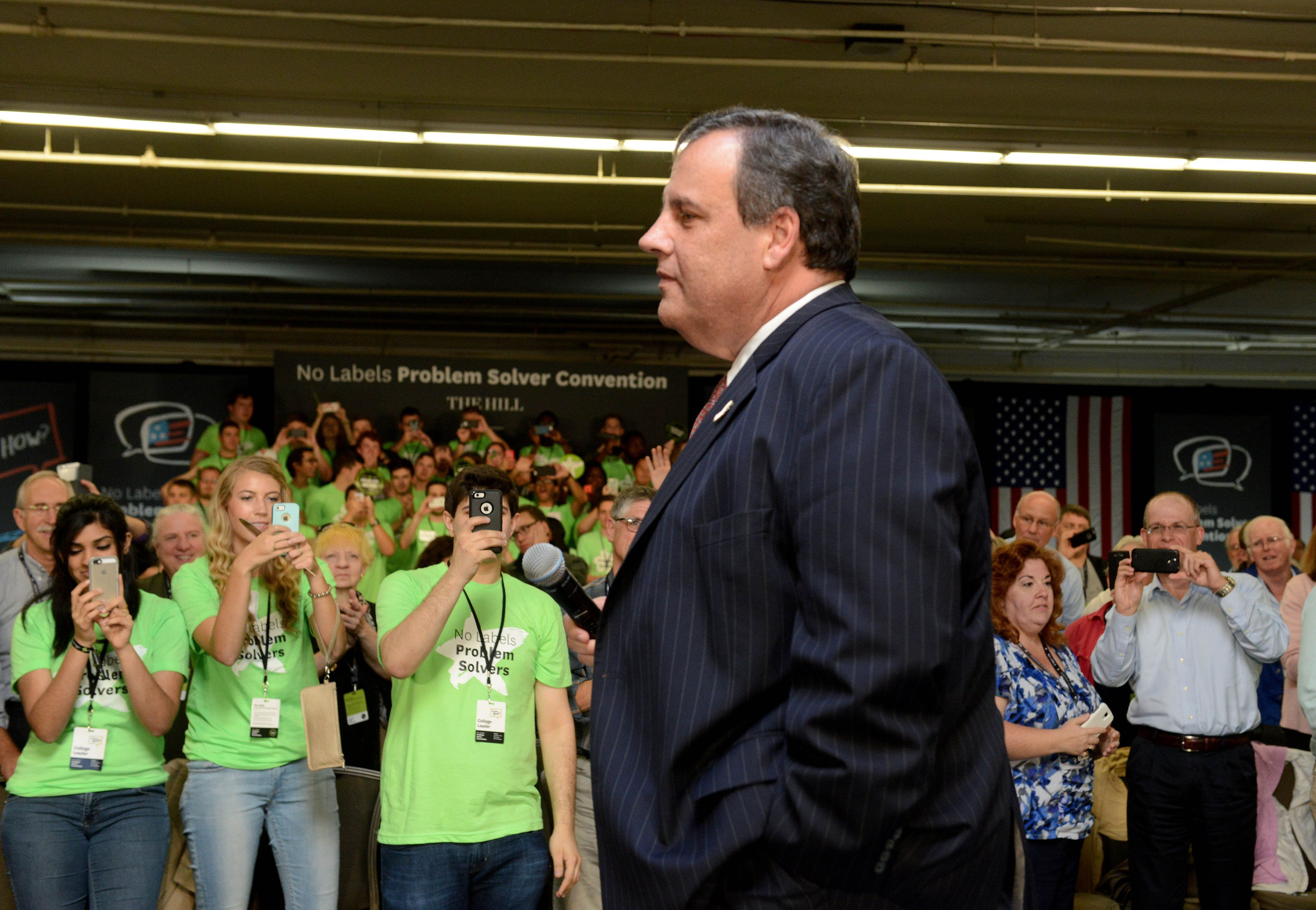 MANCHESTER, NH - OCTOBER 12: Republican Presidential candidate and New Jersey Gov. Chris Christie  speaks at the No Labels Problem Solver convention October 12, 2015 in Manchester, New Hampshire. Eight presidential candidates addressed the bipartisan event which included many undecided New Hampshire voters. (Photo by Darren McCollester/Getty Images)