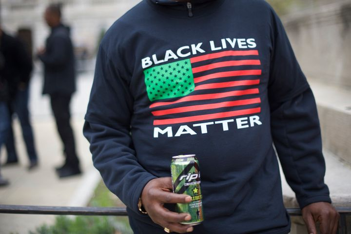 A Black Lives Matter protester outside of City Hall in Baltimore, Maryland, on April 25, 2015.