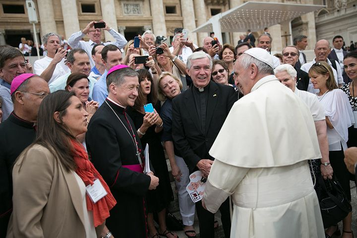 Following the general audience with Pope Francis in Rome on Sept. 2, 2015, the Holy Father met with members of the board of g