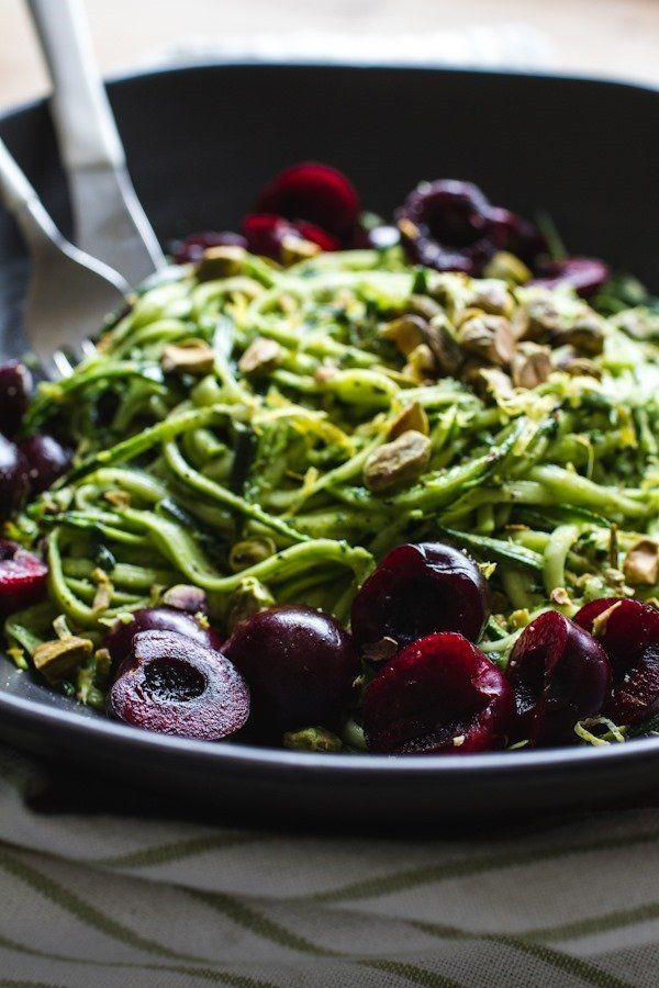 """<strong>Get the <a href=""""http://www.edibleperspective.com/home/2014/7/16/pistachio-kale-pesto-with-zucchini-noodles-cherries-"""