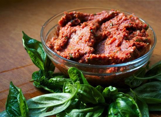"""<strong>Get the <a href=""""http://foodiesarsenal.com/sundried-tomato-pesto/"""">Sun-dried Tomato Pesto recipe</a> from Foodie's Ar"""