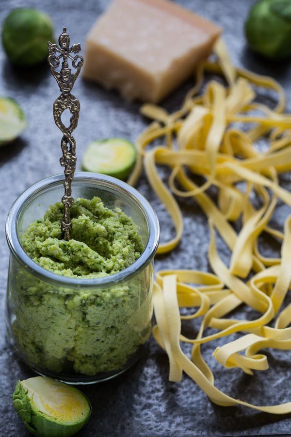 """<strong>Get the <a href=""""http://www.multicultikitchen.com/2014/01/brussel-sprout-pesto.html"""" target=""""_blank"""">Brussels Sprout"""