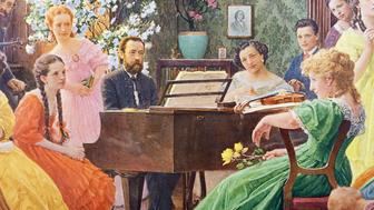 The Czech composer Bedrich Smetana (Litomysl, 1824-Prague, 1884), playing the piano for his friends.