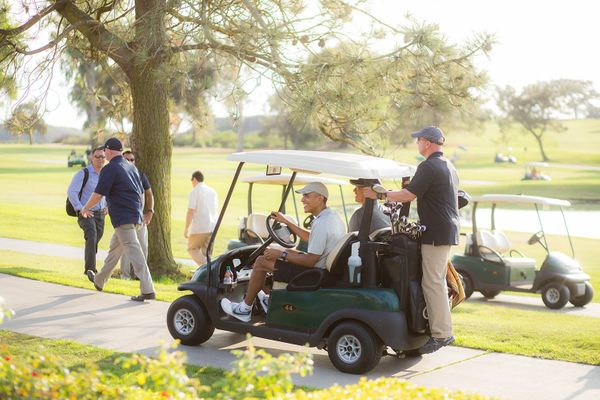 President Barack Obama continues golfing at Torrey Pines in San Diego after crashing the wedding of Brian and Stephanie Tobe.