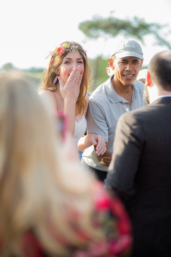 Stephanie Tobe reacts after meeting President Obama at Torrey Pines golf course.