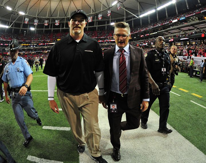 Falcons first-year head coach Dan Quinn (left) and GM Thomas Dimitroff wanted to create a healthy culture predicated on tough