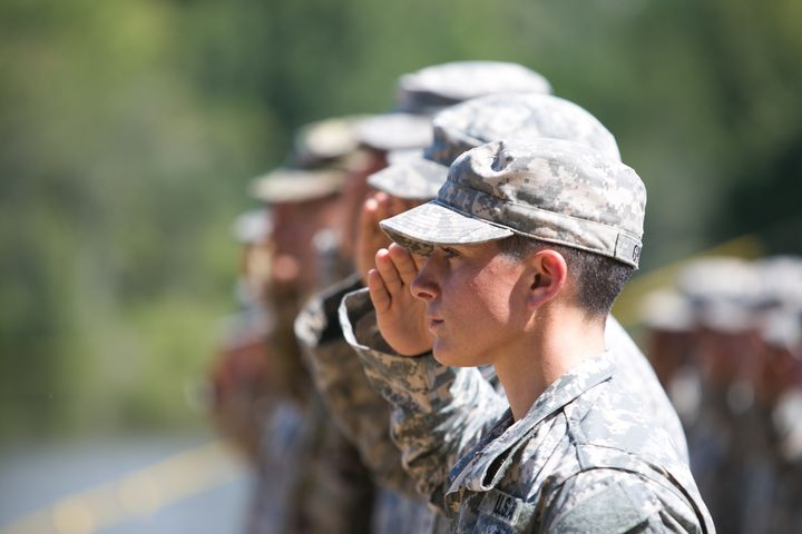 Capt. Kristen Griest salutes during the graduation ceremony of the United States Army's Ranger School on Aug. 21, 2015, at Fo