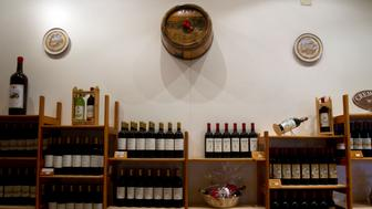 The wine shop in the Cremisan winery monastery is seen in Bet Jalla on December 21, 2011. The monastery has decided to keep its lands in Israel after the separation wall is built in Bet Jalla. (Maya Levin/MCT via Getty Images)