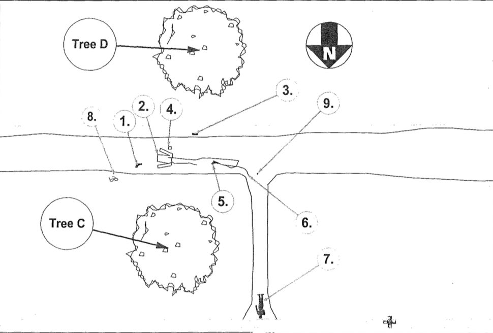 A police sketch created by GBI shows the location of Chambers' body (exhibit 7). Near exhibit 2 is where Glidden said he