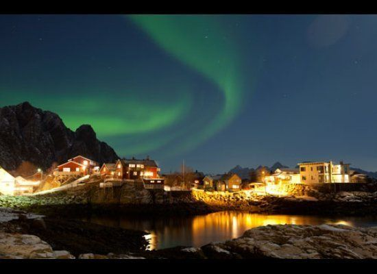 Northern Lights near the town of Svovaer in the Lofoten Islands<br><br><strong>Why Go</strong>: The northern town of Troms&os