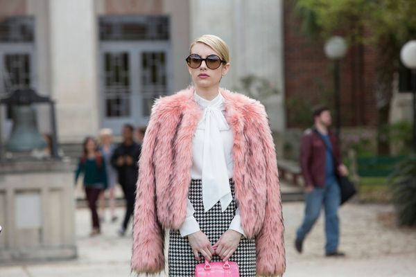 Grab a furry vest or jacket, a classic blouse and a houndstooth pencil skirt, and you've got yourself a Chanel Oberlin costum