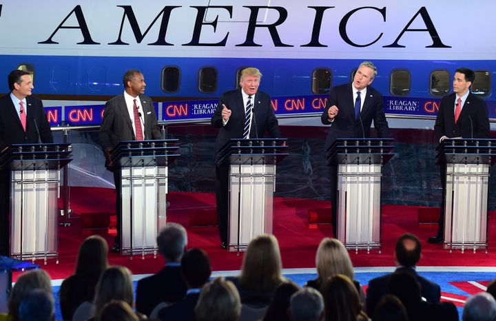 Republican presidential candidates, seen above during their Sept. 16debate, had some sharp critiques of Tuesday's Democ