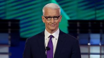LAS VEGAS, NV - OCTOBER 13:  CNN anchor Anderson Cooper prepares to moderate a Democratic presidential debate sponsored by CNN and Facebook at Wynn Las Vegas on October 13, 2015 in Las Vegas, Nevada. Five Democratic presidential candidates are participating in the party's first presidential debate.  (Photo by Joe Raedle/Getty Images)