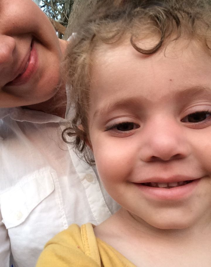 Sophia takes a selfie with a young Syrian girl in Kara Tepe informal camp on Greece's Lesvos island, where thousands of refug