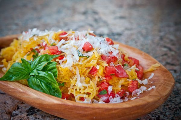 """<strong>Get the <a href=""""http://steamykitchen.com/19385-microwave-spaghetti-squash-with-tomatoes-and-basil.html"""">Spaghetti Sq"""