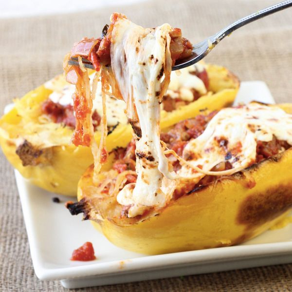 """<strong>Get the <a href=""""http://americanheritagecooking.com/2014/03/twice-baked-spaghetti-squash/"""" target=""""_blank"""">Twice-Bake"""