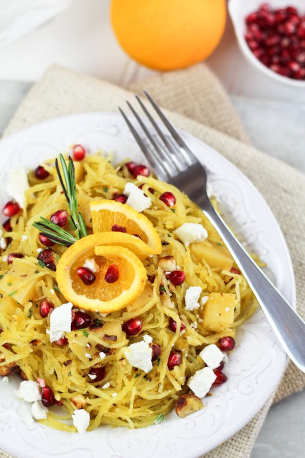 """<strong>Get the <a href=""""http://thehealthyfoodie.com/spaghetti-squash-pomegranate-goat-cheese-salad/"""" target=""""_blank"""">Spaghet"""