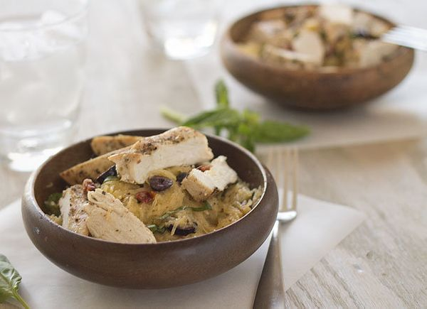 "<strong>Get the <a href=""http://slimpalate.com/basil-and-sundried-tomato-spaghetti-squash-salad-paleo-grain-free-gluten-free/"