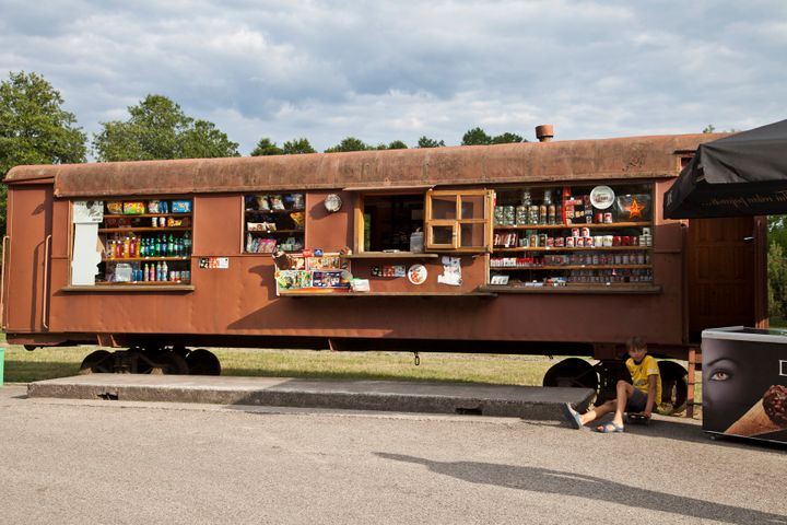 The snack bar is fitted out off an old Soviet train.