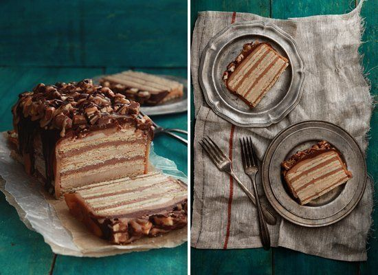 "<strong>Get the <a href=""http://www.bakersroyale.com/cakes/snickers-cake/"" target=""_hplink"">Snickers Cake recipe</a> by Baker"