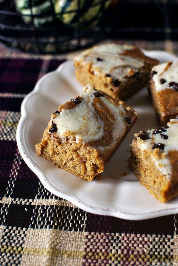 "<strong>Get the <a href=""http://passthesushi.com/pumpkin-cream-cheese-swirl-bars/"">Pumpkin Cream Cheese Swirl Bars recipe</a>"