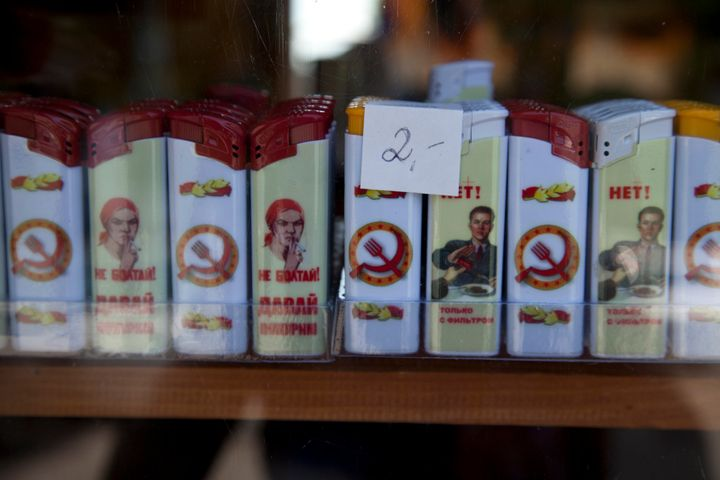 Lighters with famous Soviet propaganda imagery are popular items in the gift shop.