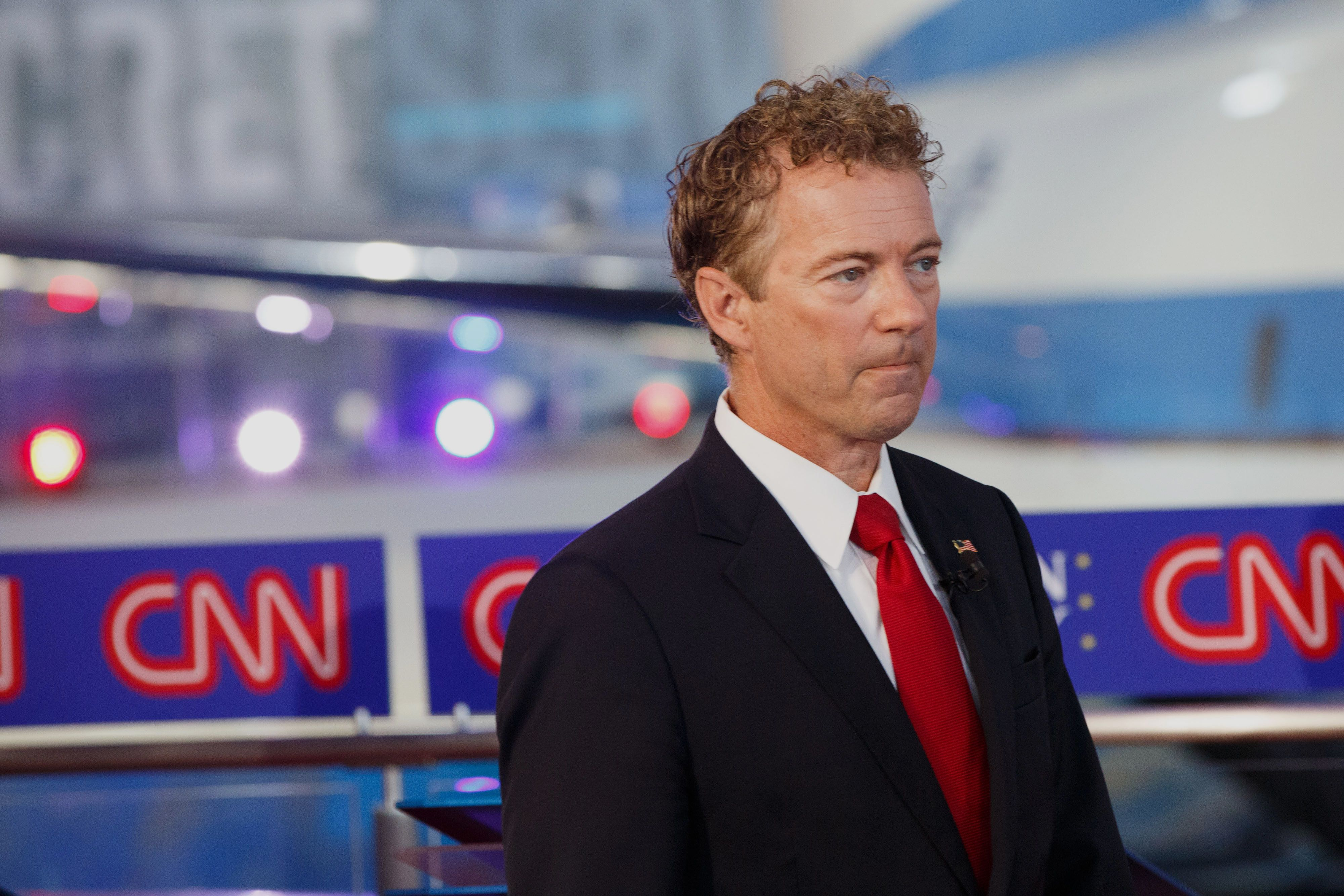 Senator Rand Paul, a Republican from Kentucky and 2016 presidential candidate, walks on stage during the Republican presidential debate at the Ronald Reagan Presidential Library in Simi Valley, California, U.S., on Wednesday, Sept. 16, 2015. The main debate of the top 11 GOP contenders in the polls follows the 'kids' table' debate of candidates who didn't make the cut. Photographer: Patrick T. Fallon/Bloomberg via Getty Images